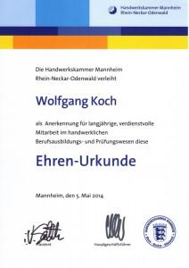 Ehren-Urkunde der Handwerkskammer Mannheim