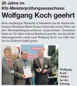 20 Jahre im KFZ-Meisterprüfungsausschuss